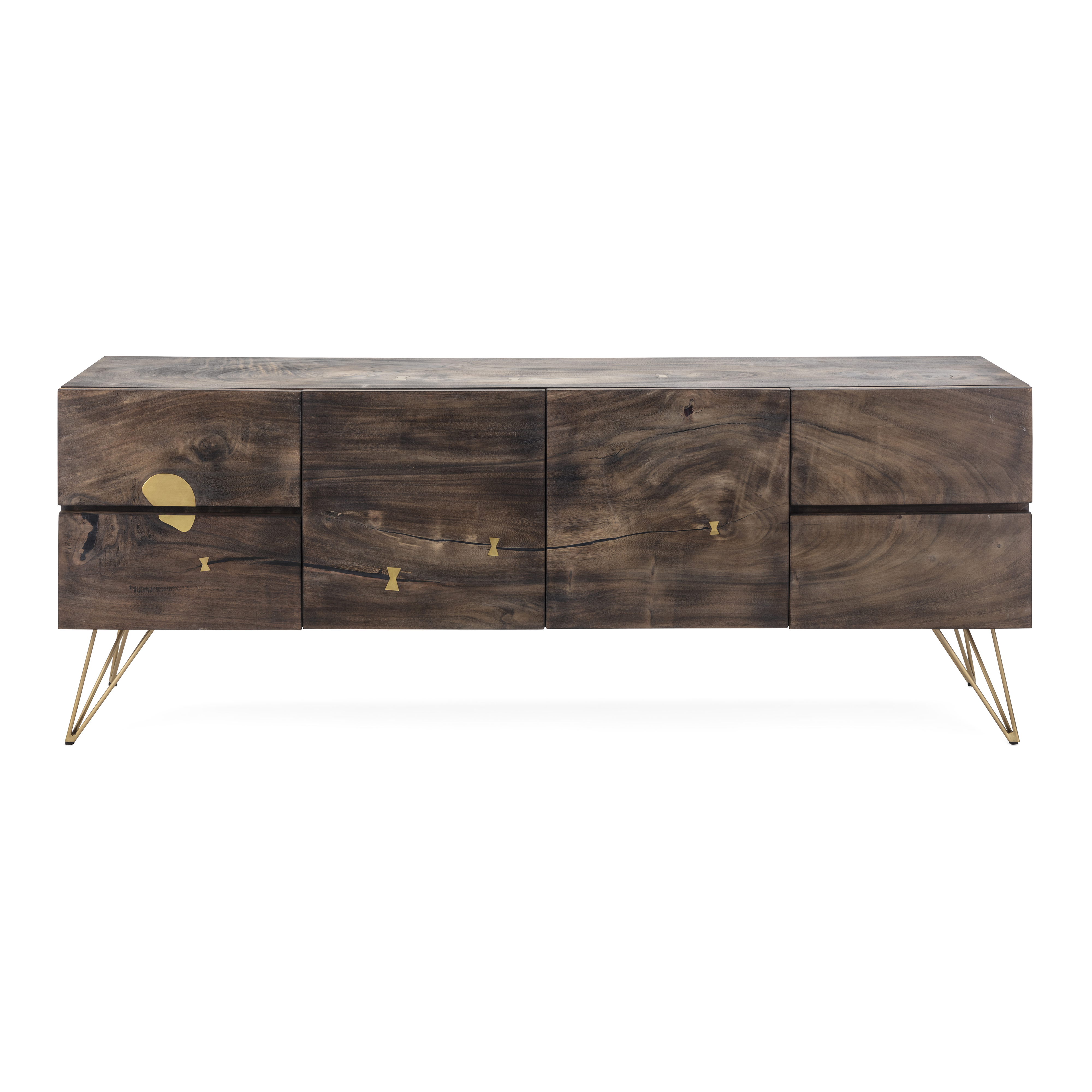 Imax Contemplar Sugar Wood And Brass Sideboard With Brown Fi